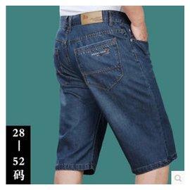 男牛仔短褲加肥加大碼七分褲寬松肥佬薄褲子胖子超大號中褲碼