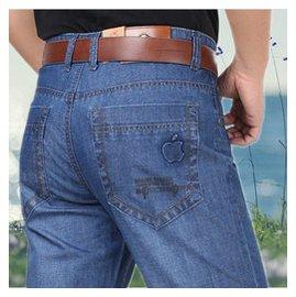 春夏薄款蘋果中年男士高腰牛仔褲子直筒寬松大碼 男裝長褲