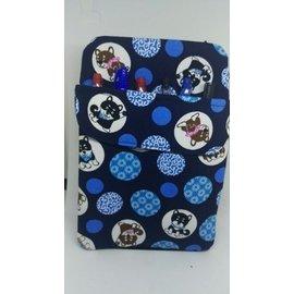 花露露手作^~^~^~ 柴犬與圓圈花紋^~深藍色護士筆袋 筆盒 長夾 拉鍊式 護照夾 存摺