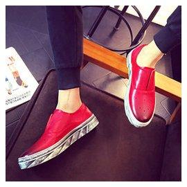 鼕季真皮加絨樂福鞋紅色英倫 皮鞋男款潮板鞋45 46 47 48大碼