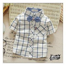 男童格子純棉襯衫潮2015款夏裝小童嬰兒短袖襯衣兒童寶寶上衣