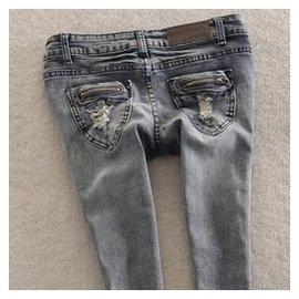 維卡戀 牛仔褲女 小腳褲 顯瘦修身破洞復古鉛筆褲彈力長褲