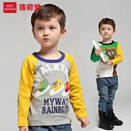 薄荷堂 男童t恤 兒童長袖純棉t恤 2016 秋裝寶寶上衣打底衫