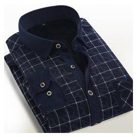 鼕季男士保暖襯衣中年加絨加厚襯衫 修身商務格紋大碼長袖男裝