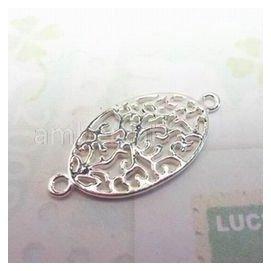 琥珀貓銀飾DIY~925純銀材料 ~連結 ~A0538~橢圓形鏤空長命卷草~一個