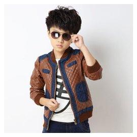 嗨童寶 男童外套春裝 上衣2015春秋 兒童牛仔拼皮夾克皮衣中大童男孩 衣服 棕色 160