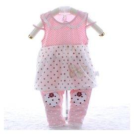 嬰兒裙子套裝 夏0~1一歲女寶寶夏裝 嬰幼兒公主連衣裙褲子369個月 粉紅色 73