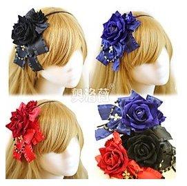 實拍 黑色,大紅,寶藍色玫瑰花朵蝴蝶結十字架蘿莉塔珍珠髮箍頭飾 貓熊繽雰 華麗洛可可緞帶滾