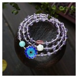 天然6.5薰衣草紫晶三圈手鏈 925銀烤藍 草莓晶 天河石 貝殼
