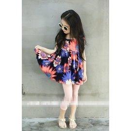 ~粉紅豬小妹~2016夏裝 女童兒童洋裝 大花棉質連衣裙吊帶裙