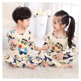 春秋長袖套裝兒童保暖睡衣男孩蠟筆男童小新寶寶純棉居家服中大童