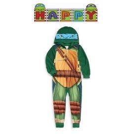 出口美國Ninja Turtles忍者龜藍天使LEO李奧 搖粒絨連帽連身睡衣 110、14
