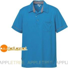 Wildland荒野 男涼感紗抗UV短袖上衣91630-77中藍色XL號 獨特涼感 Yok