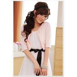 ~  ~~°大尺寸粉色8308俏麗公主百搭領邊小玫瑰中袖小外套XL