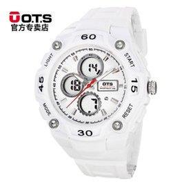 ots白色電子表女表 潮流中學生手表防水戶外 手表男表