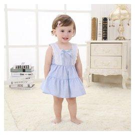 女寶寶夏裝嬰兒衣服夏裝裙子夏連衣裙女嬰裙公主裙幼兒連衣裙純棉無袖學府裙 藍色 80碼 身高