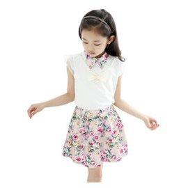 2015 女童短裙套裝寶寶可愛碎花裙無袖公主裙子 兩件套1057 粉紅色 160碼^( 身