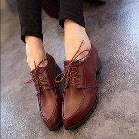 2014 英倫風復古粗跟女鞋 單鞋中跟鞋小皮鞋繫帶尖頭鞋