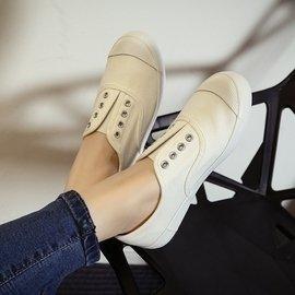 簡約文藝學院小白鞋女學生 一腳蹬懶人鞋平底白色無鞋帶帆布鞋