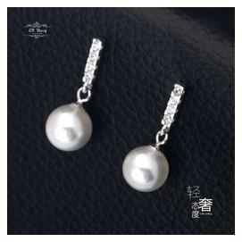 & 新品 925純銀耳釘 電鍍白金貝珠珍珠耳墜 女士日繫鑲鑽耳環