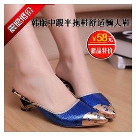 涼鞋女 無後跟中跟半拖鞋 粗跟尖頭舒適懶人鞋女鞋