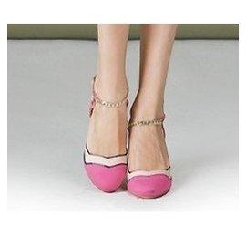 新品名媛氣質甜美公主玫粉色高跟鞋色拼接粗跟圓頭真皮裡縷空涼鞋