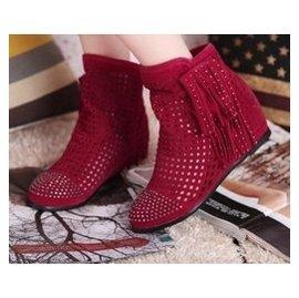 網靴涼鞋內增高女鞋涼靴鏤空流蘇鞋短靴中跟圓頭洞洞春秋大小碼