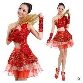 特 舞台裝亮片短裙 舞蹈服裝演出服 水鼓服 啦啦操表演服
