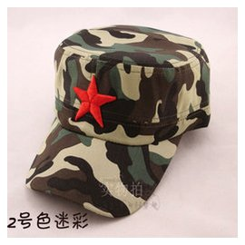兒童紅星軍帽子男女五角星平頂帽子 戶外夏軍訓迷彩遮陽maozi