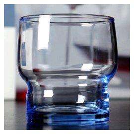 鋼化杯玻璃杯啤杯茶杯水杯洋杯威士忌杯餐廳竹節杯餐杯 藍色190
