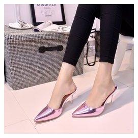 涼拖鞋女夏2016 性感細跟包頭高跟涼鞋 尖頭水晶鞋半拖潮女鞋