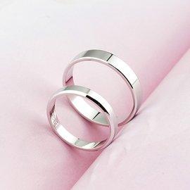 情侶戒指銀質質情侶戒指 男女日 簡約光面開口指環