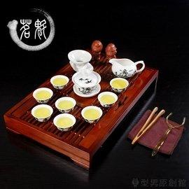 茶具套裝茶具套裝陶瓷功夫茶具整套青花茶杯蓋碗茶道實木茶盤茶臺TW