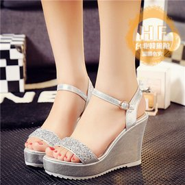 高跟涼鞋韓國水鑽 坡跟防水臺厚底涼鞋女夏鬆糕高跟平底露趾女潮