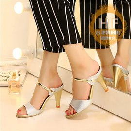 高跟涼鞋 高跟一字涼鞋女士細跟魚嘴涼拖 百搭 性感女鞋