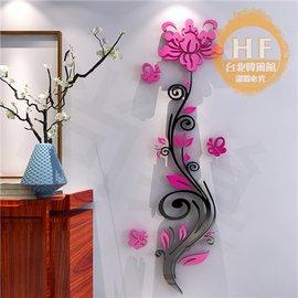 牆貼薔薇花亞克力3d立體�棤K畫臥室客廳玄關溫馨 家居背景�椈戲佴�