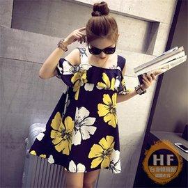 吊帶裙 女裝 炫彩撞色花朵印花荷葉邊短袖露肩吊帶連衣裙