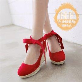 坡跟鞋春 甜美蝴蝶結坡跟厚底單鞋女淺口高跟鞋鬆糕鞋女鞋