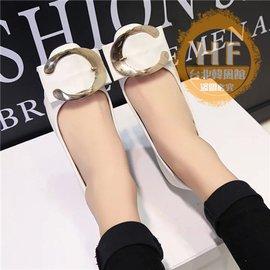 低跟鞋 粗跟淺口方頭職業工作黑色女單鞋金屬扣低跟女鞋