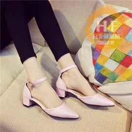 低跟鞋 涼鞋女春夏粗跟低跟中跟尖頭單鞋包頭一字扣帶女鞋子粉色