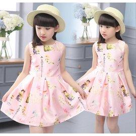 女童禮服夏裝兒 公主裙棉質背心裙短袖連衣裙