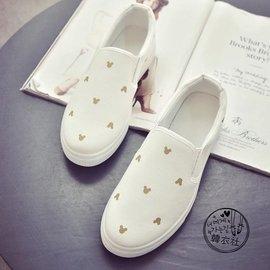 春夏透氣平底一腳蹬懶人鞋帆布鞋女白色米奇學生布鞋休閒小白單鞋