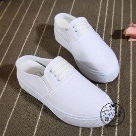 春夏帆布拖鞋女帆布鞋小白鞋女厚底鬆糕板鞋子休閒半拖 懶人鞋