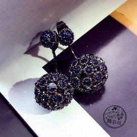 耳飾925銀質韓國 閃亮鋯石水鑽大小圓球耳釘女簡約甜美氣質品