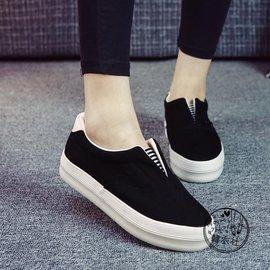 厚底鞋2016 休閒懶人女鞋學生一腳蹬帆布鞋純色樂福鞋女布鞋板鞋