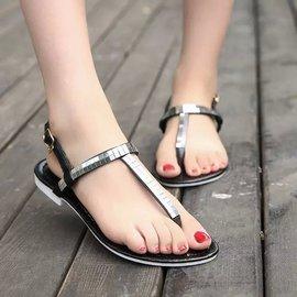 波西米亞平底沙灘鞋夾趾亮片學生一字扣涼鞋女羅馬鞋GD