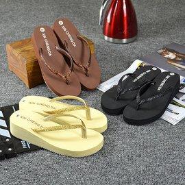 皮革松糕純色 人字拖防滑坡跟沙灘拖鞋女鞋GD