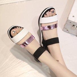 夏厚底增高鬆高女鞋鬆緊套腳 拼色休閒學生女涼鞋