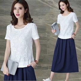 刺繡棉麻短袖T恤女裝 寬鬆大碼上衣簡約百搭文藝亞麻白色體恤