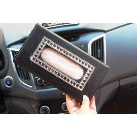 汽車遮陽板紙巾盒高檔皮革車用抽紙盒套車載挂式鑲鑽可愛女紙巾夾